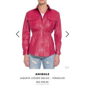 Jaquete De Couro Com Bolso Animale