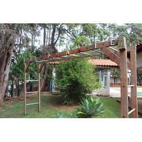 Jardim Escada Horizontal Madeira Maciça Crianças Subirem
