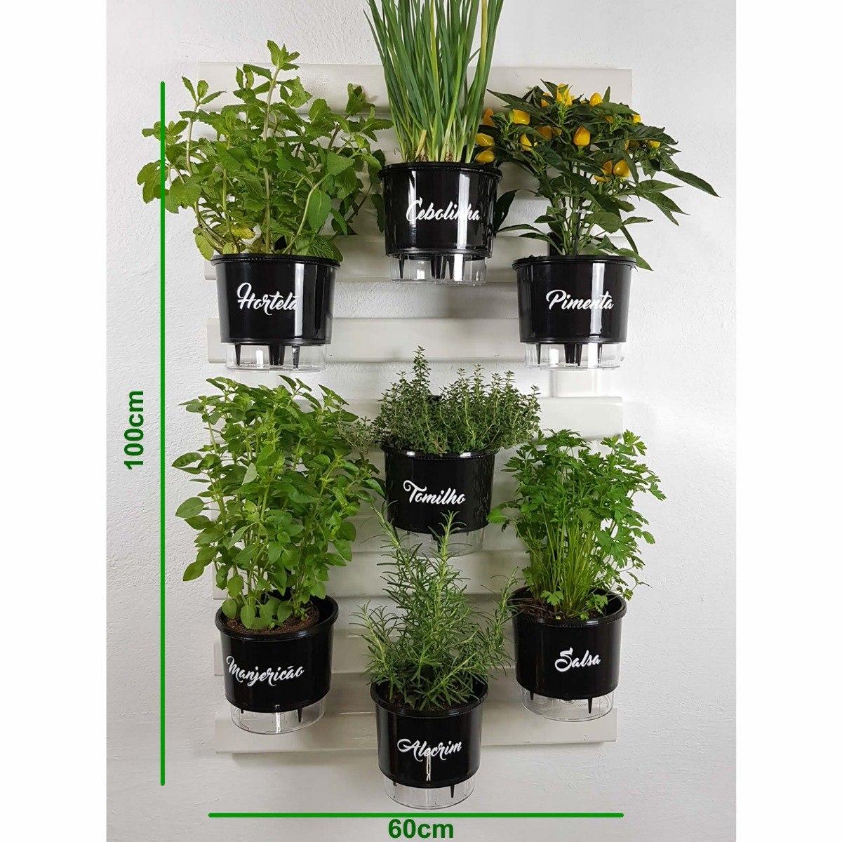 0df9e261c jardim horta vertical treliça branca 100x60 +7 vasos gourmet. Carregando  zoom.