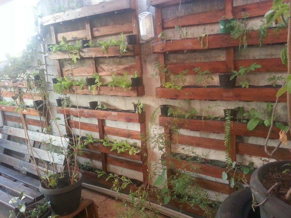 Jardim Ou Horta Vertical Painel Com Pallets R$ 148 90 em Mercado  #6D4434 1200x900