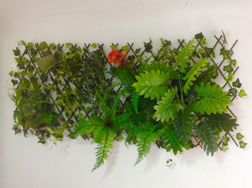 jardim vertical placa sanfonada com mix de verdes artesanal.
