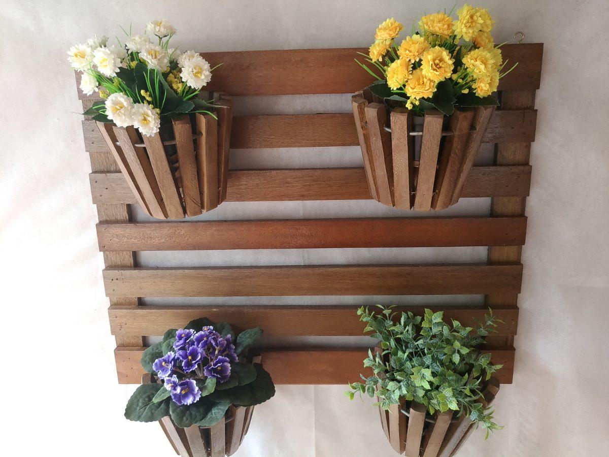 jardim vertical em madeira : Jardim Vertical Suspenso Em Madeira C/ 4 Vasos 033 - R$ 84 ...