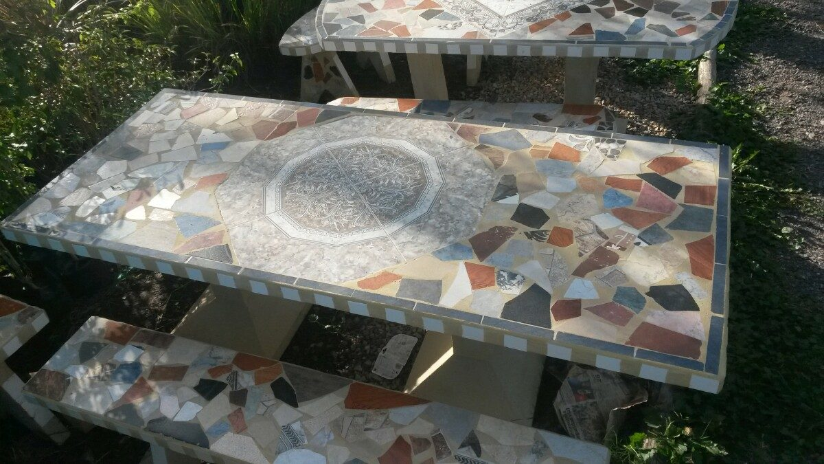 Juego De Jardin Cemento Revestido Ceramica 2 Metros - $ 7.950,00 ...