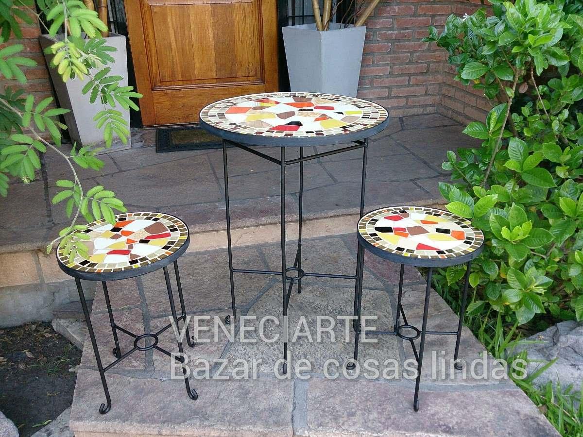 Juego Jardin Exterior Mesa D=50cm + 2 Banquetas Venecitas - $ 5.405 ...