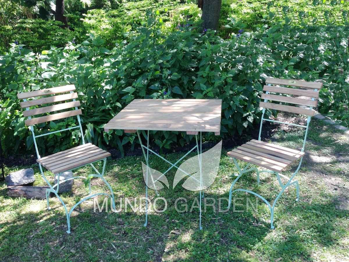 Juego De Jardin Mesa Y Silla Plegable Hierro Madera Balcon - $ 4.950 ...