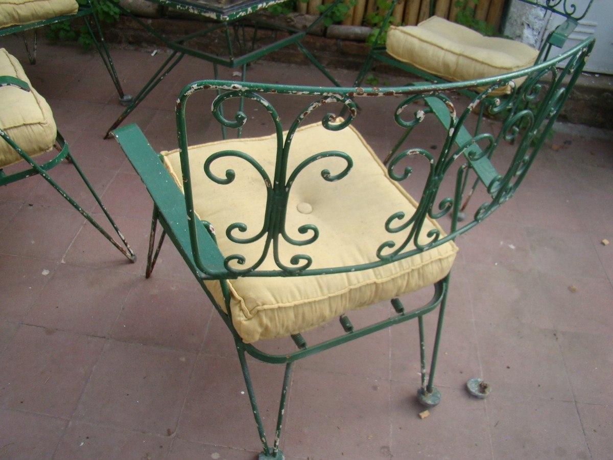 Juego De Jardin Retro Vintage Hierro Mesa Y 4 Sillones - $ 4.800,00 ...