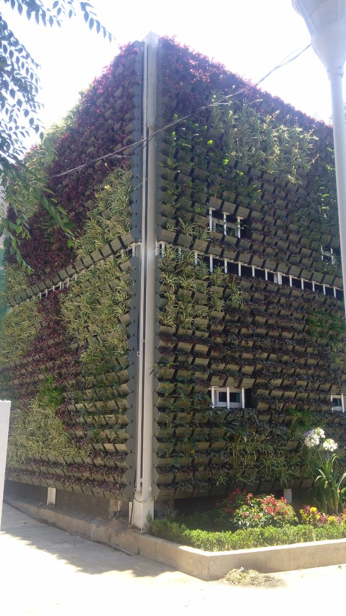 Jard n vertical muro verde huerto vertical fachada for Modulo jardin vertical