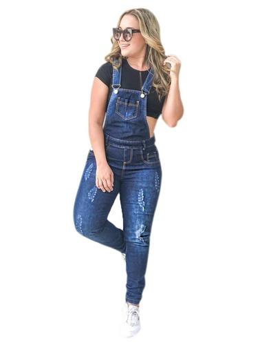 jardineira calça jeans feminia lycra