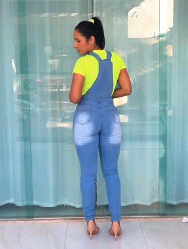 jardineira calça jeans feminina macacão lycra
