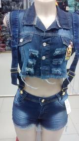 de6a22b99 Jardineira Jeans Sawary - Shorts no Mercado Livre Brasil