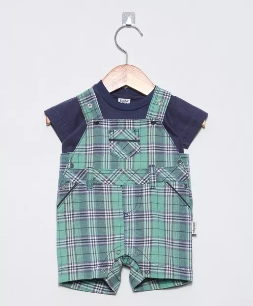 751f6b5dd Jardineira Conjunto Camiseta Roupa Bebe Menino Verao - R  79