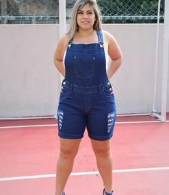 fa9a0d75e7 Jardineira Curta Jeans Plus Size Shortinho Macaquinho Lycra