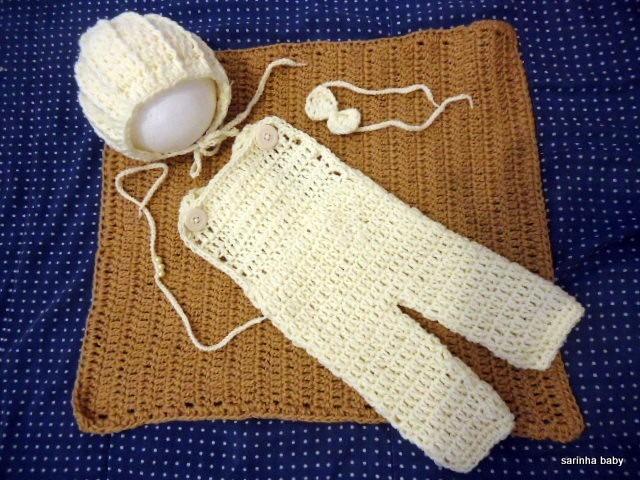 Jardineira De Croche Newborn Com Touca Retro - R  50 91f069b036b