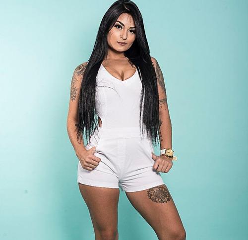 jardineira feminina macaquinho jeans shorts estilo pit bull