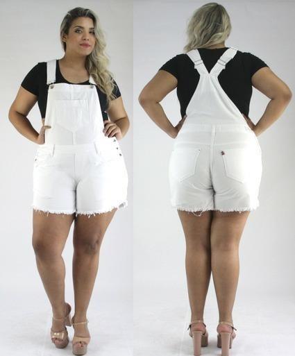 23983cc41 Jardineira Jeans Branca Linda Plus Size Roupas Femininas - R  145
