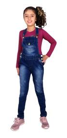 b3901053cc9b5e Jardineira Jeans Comprida Frio Menina Infanto Juvenil