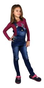 b700dd509c5ac0 Jardineira Jeans Comprida Menina Infantil Juvenil 2 Cores