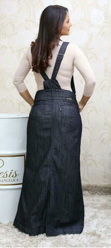 jardineira jeans longa gns m/38 jeans escuro e jeans claro