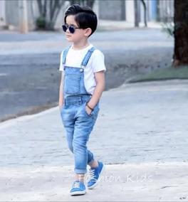48991bd4eb1767 Jardineira Macacão Calça Jeans Bebê Menino 9 Meses Á 3 Anos