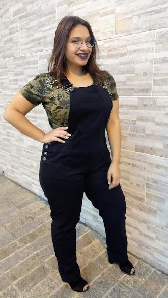 ec2a3d8e188e13 Jardineira Macacão Feminina Calça Sarja C/lycra Plus Size