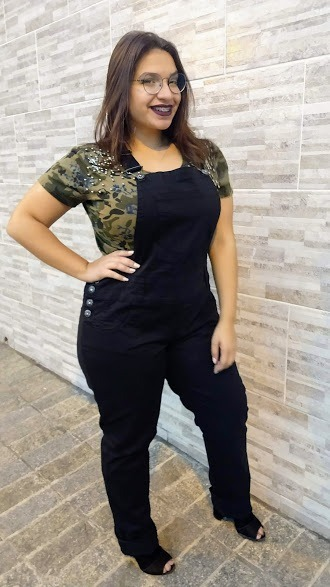 37bfafb8624926 Jardineira Macacão Feminina Calça Sarja C/lycra Plus Size