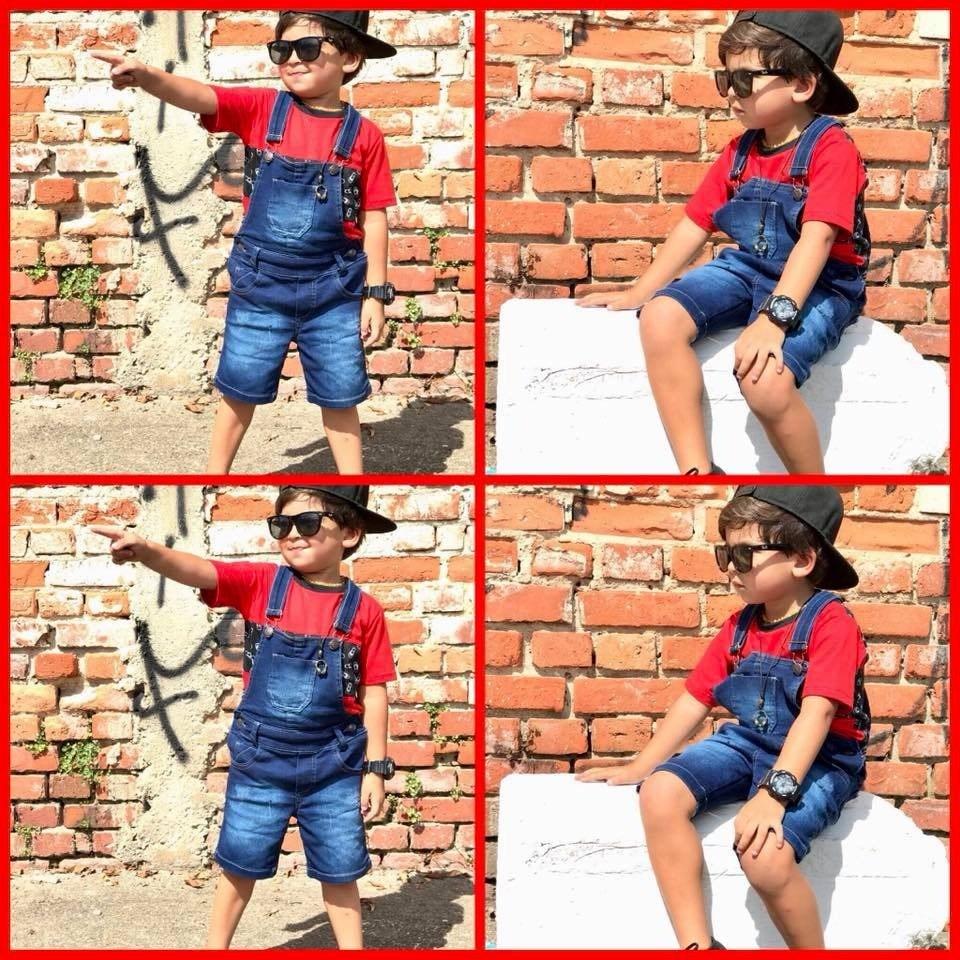 9a48e8472d0137 Jardineira Macacão Infantil Jeans Colorida Menino