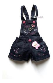 3ea34af343b1b2 Jardineira Macacão Infantil Jeans Menina 1, 2 E 3 Anos