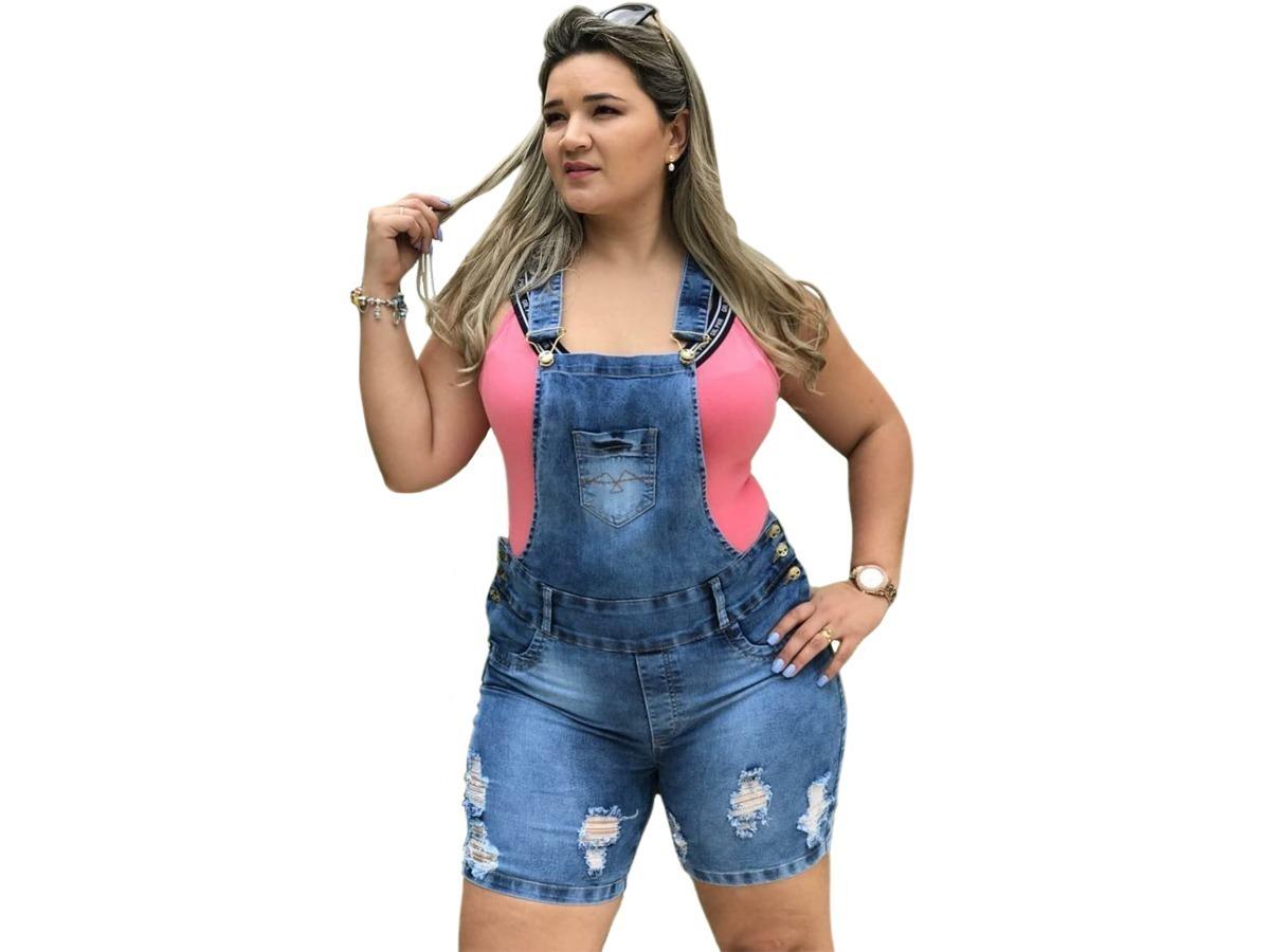 d2fde5598 jardineira macacão shorts jeans c  lycra plus size até o 56. Carregando  zoom.