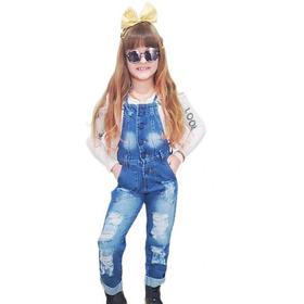 Jardineira Macaquinho Longa Jeans Infantil Menina Mini Diva