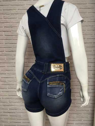 jardineira meuse jeans feminina strass bojo estilo pitbull