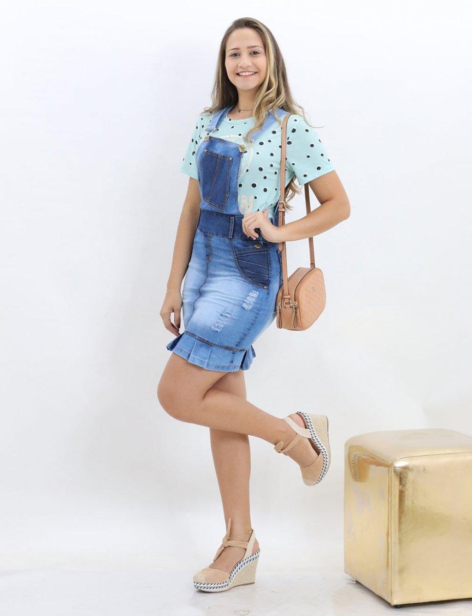 c2bdfe94b Jardineira Salopete Jeans Feminina - R$ 159,90 em Mercado Livre