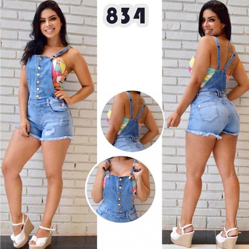 jardineira sol jeans original com lycra levanta bumbum