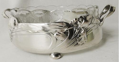 jardinera alemana bronce plateado vidrio. diseño art nouveau