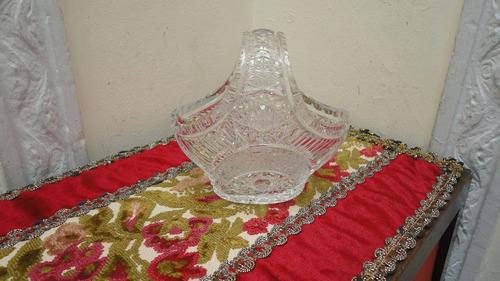 jardinera centro antigua en cristal gran tallado veala