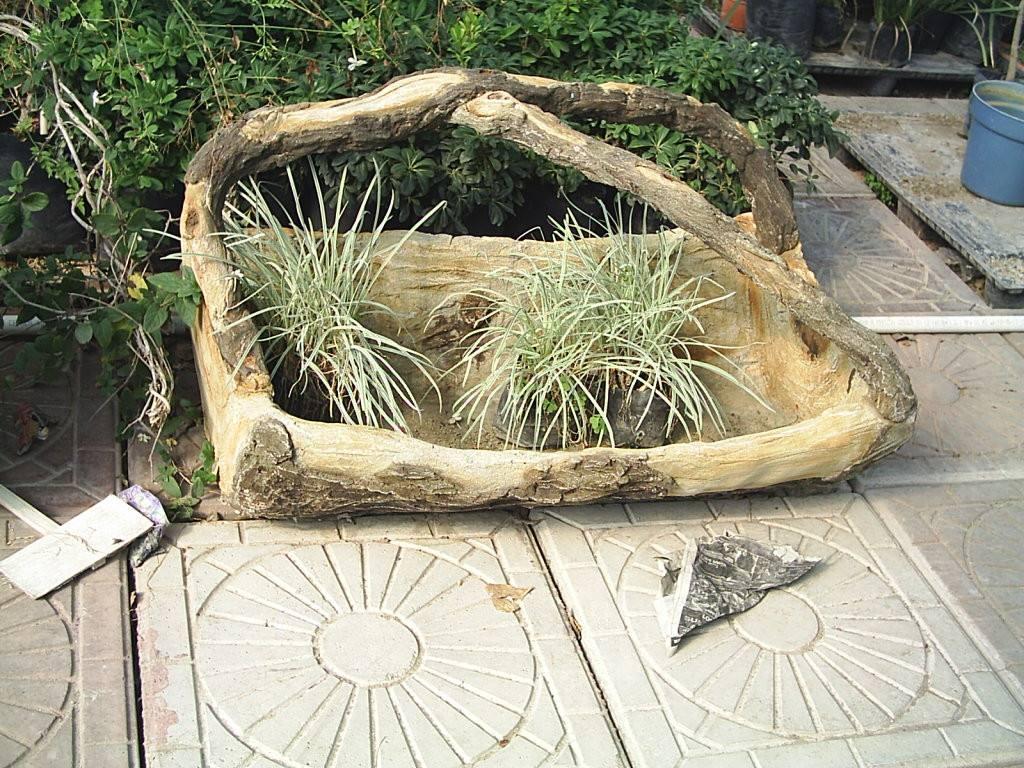 Jardinera con asas tipo tronco concreto 1 en for Tipos de jardineras