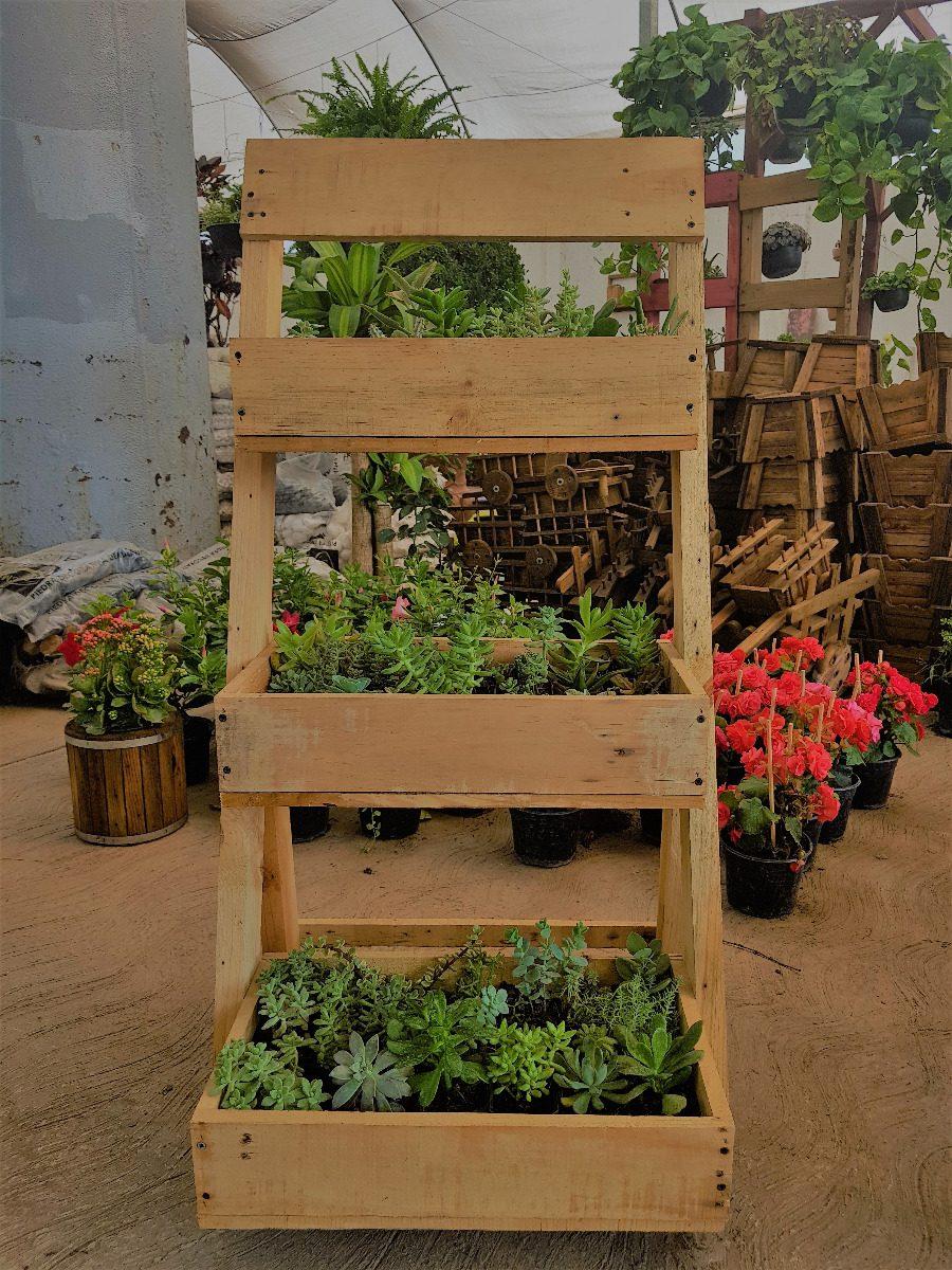Jardinera escalera vintage rustica macetera de madera for Escalera de jardin de madera