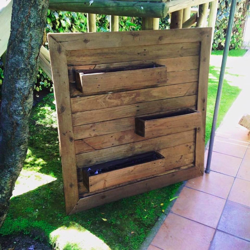 jardinera triple madera reciclada pantano pallet