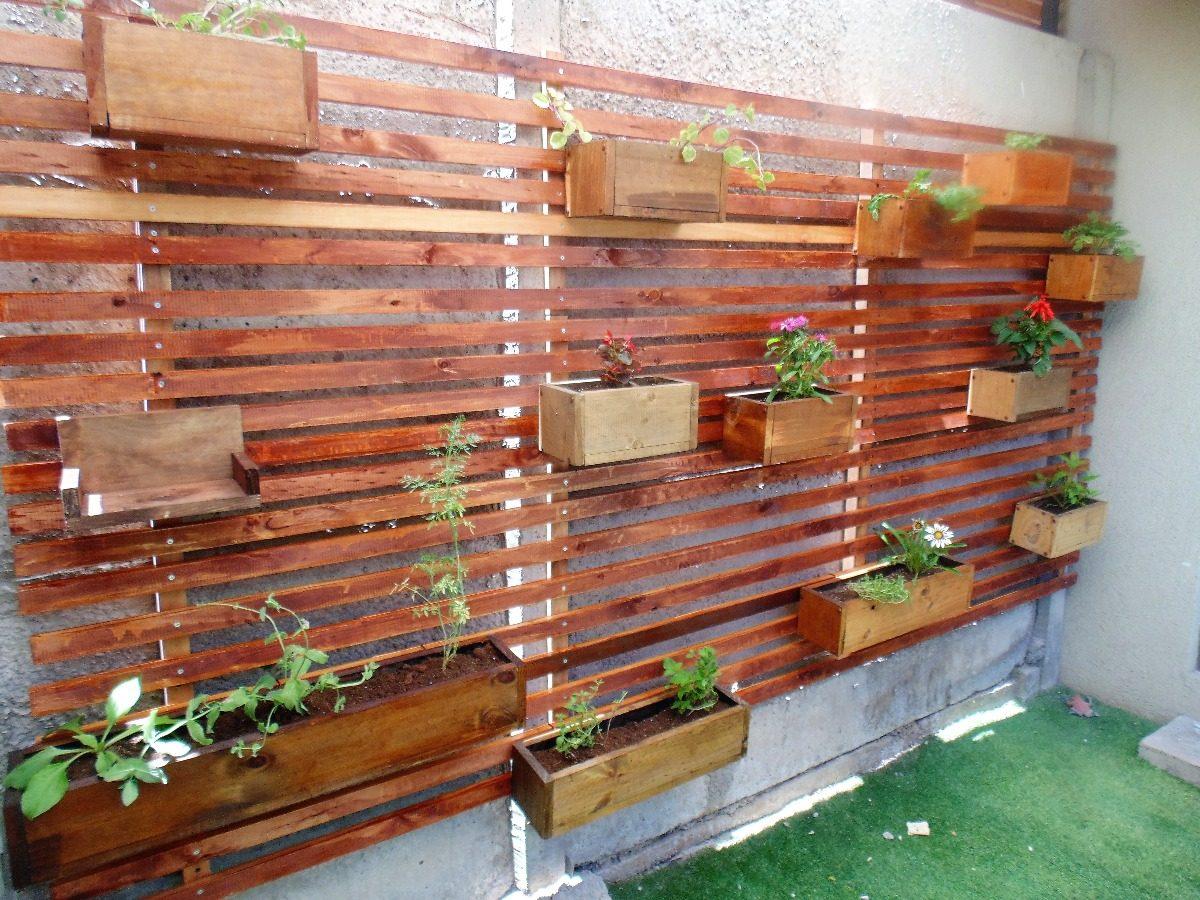 Jardinera vertical madera a muro x metro cuadrado con maceta en mercado libre - Jardineras con palets de madera ...