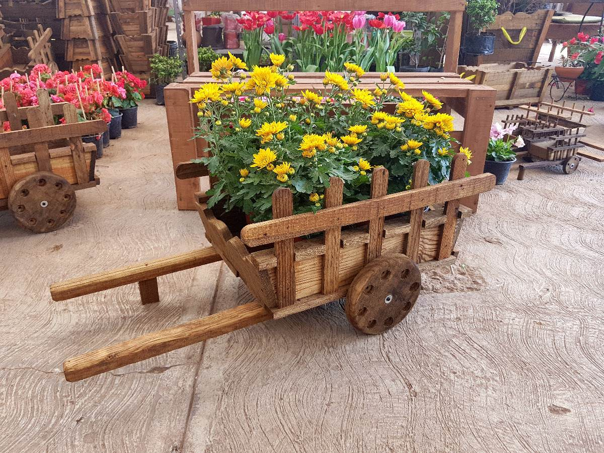 Jardineras vintage rustica macetera de madera carreta 50 for Carretas de madera para jardin
