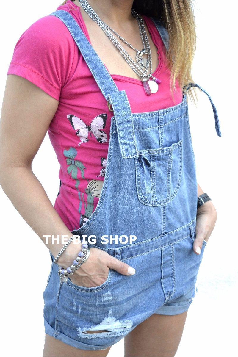 33d2279666 Jardinero Enterito De Jeans Roturas Corto Mujer -   590