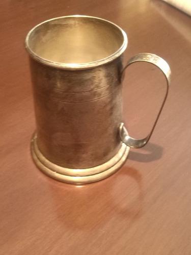 jarra cervecera antigua  de coleccion, en  baño de plata