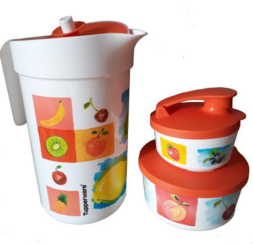 jarra color 2l tupperware ilumina verão + 2 tigelas