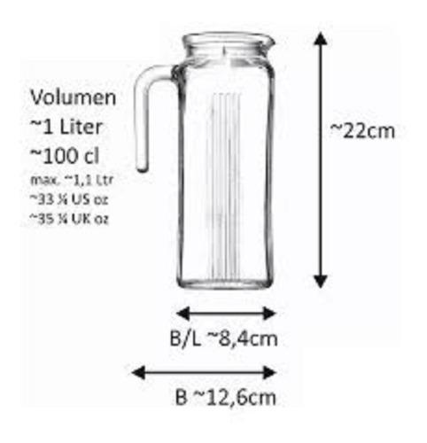 jarra con tapa blanca recta  de vidrio pasabahce de 1 litro
