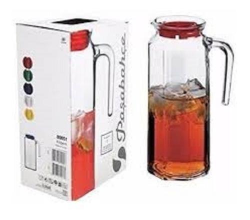 jarra con tapa roja  de vidrio pasabahce de 1 litro