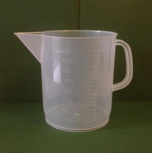 jarra de plástico de polipropileno de laboratorio de 2 lt.