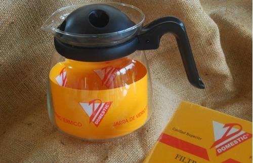 jarra de vidrio 1 l portafiltros nº4 filtros para cafe nº4