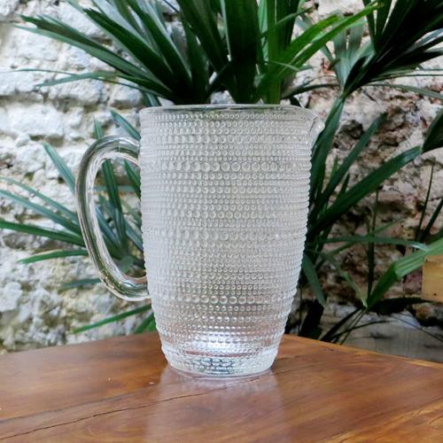 jarra de vidrio labrada puntitos de 1,4 litros color cristal
