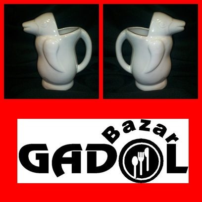 jarra vino cerámica: forma de pinguino 1/2 litro blanco