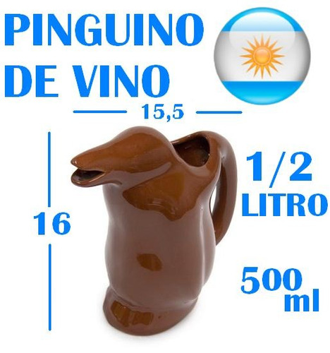 jarra vino pinguino marron ceramica tinto blanco rosado