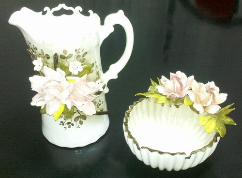 jarra y cenicero ceramica